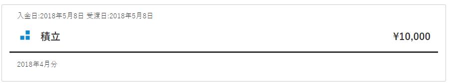 入金日:2018年5月8日 受渡日:2018年5月8日 積立 ¥10,000 2018年4月分